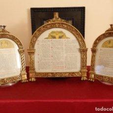 Antigüedades: ANTIGUO TRÍPTICO DE SACRAS DE ESTILO NEOCLÁSICO EN BRONCE DORADO. . Lote 134049034