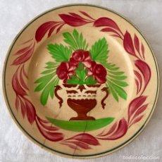 Antigüedades: ANTIGUO PLATO DE OPAQUE DE SARREGUEMINES PINTADO A MANO. Lote 134082703