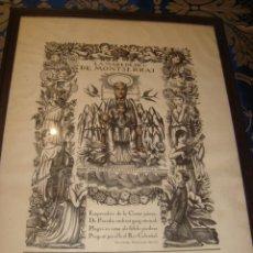 Antigüedades: GRAN LAMINA LA MARE DE DEU DE MONTSERRAT , PER FRANCESC CANYELLAS 1924 , MUY BIEN SONSERVADO . Lote 134091110