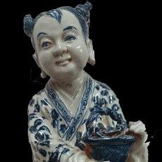 Antigüedades - Antigua escultura de porcelana de compañía de indias. 53 cm de altura. Pieza especial. - 134091926