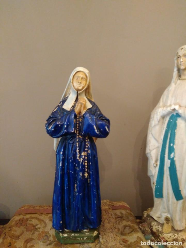 SAN BERNADETT - SELLO PP DEPOSE - ALTURA 31 CM - YESO POLICROMADO (Antigüedades - Religiosas - Ornamentos Antiguos)