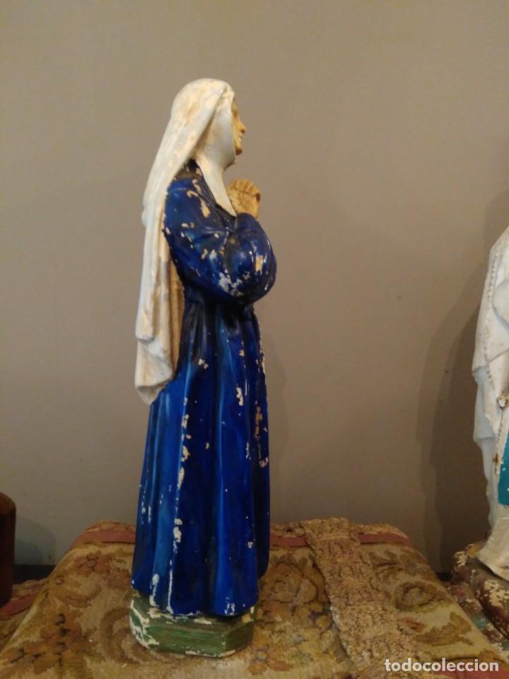 Antigüedades: SAN BERNADETT - SELLO PP DEPOSE - ALTURA 31 CM - YESO POLICROMADO - Foto 6 - 134093426