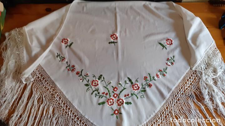 MANTON FLAMENCA BORDADO BLANCO (Antigüedades - Moda - Mantones Antiguos)
