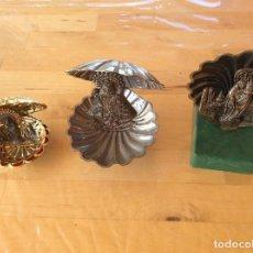 Antigüedades: CONCHA RECUERDO VIRGEN DEL PILAR , COVADONGA Y SANTIAGO DE COMPOSTELA. Lote 134107002