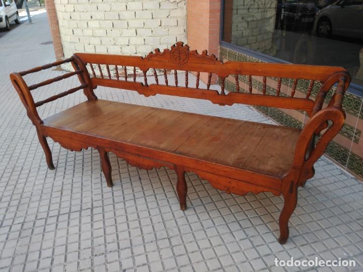 Antiguo sof o tresillo de madera rustico comprar sof s antiguos en todocoleccion 134116054 - Sofas rusticos de madera antiguos ...