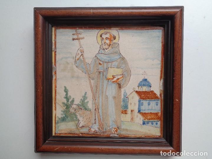 SAN ANTONIO.AZULEJO. VALENCIA ,SIGLO XVIII (Antigüedades - Porcelanas y Cerámicas - Azulejos)