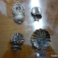 Antigüedades: 4 ARTICULOS RELIGIOSOS DE METAL PLATEADO . Lote 134131870