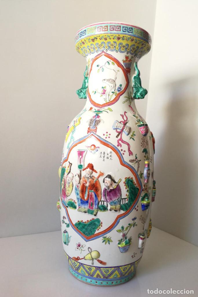Antigüedades: GRAN JARRÓN CHINO CON RELIEVES - SELLADO - Foto 2 - 134220110