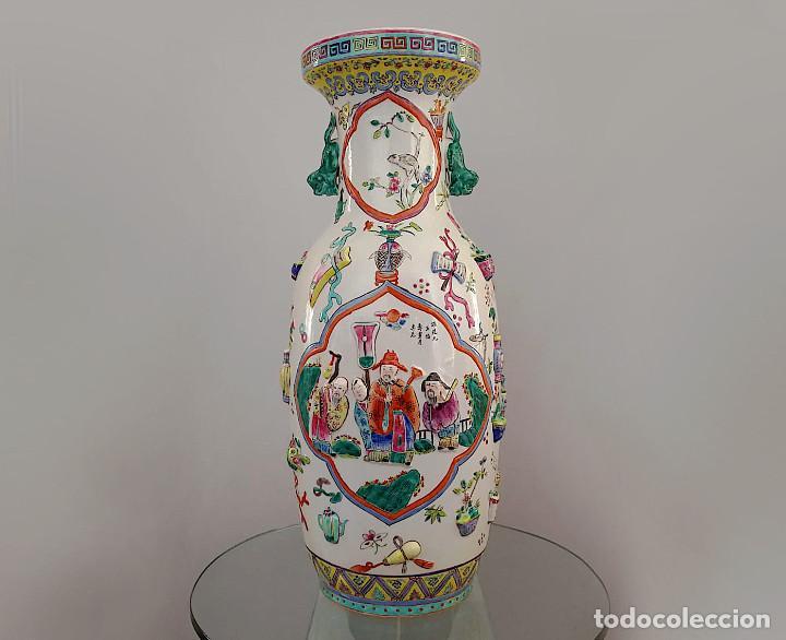 Antigüedades: GRAN JARRÓN CHINO CON RELIEVES - SELLADO - Foto 4 - 134220110