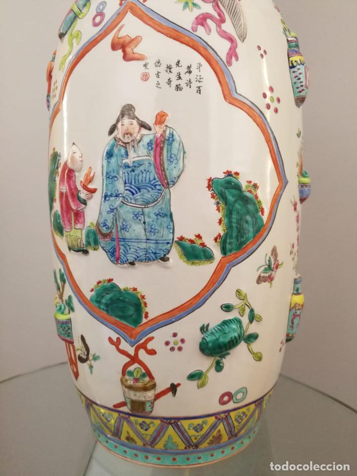 Antigüedades: GRAN JARRÓN CHINO CON RELIEVES - SELLADO - Foto 7 - 134220110