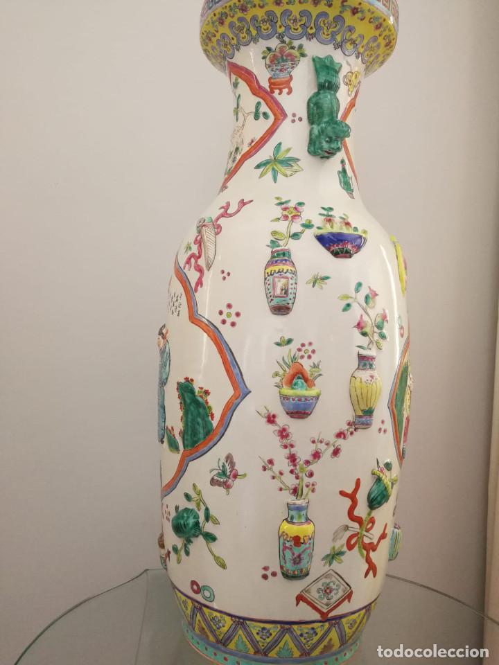 Antigüedades: GRAN JARRÓN CHINO CON RELIEVES - SELLADO - Foto 8 - 134220110