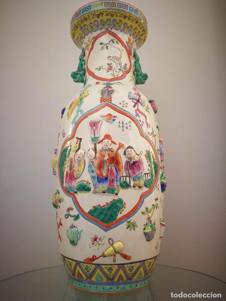 Antigüedades: GRAN JARRÓN CHINO CON RELIEVES - SELLADO - Foto 10 - 134220110