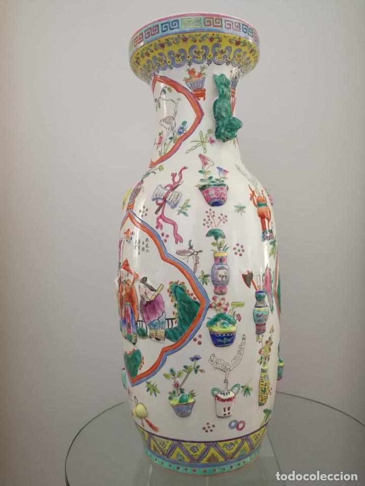 Antigüedades: GRAN JARRÓN CHINO CON RELIEVES - SELLADO - Foto 11 - 134220110