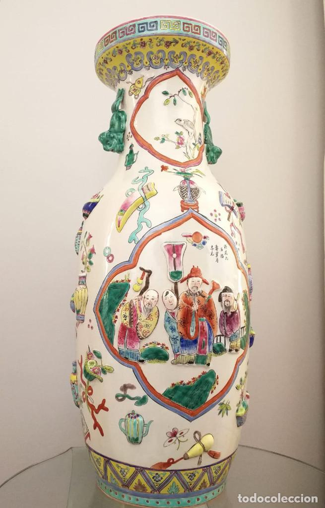 Antigüedades: GRAN JARRÓN CHINO CON RELIEVES - SELLADO - Foto 15 - 134220110