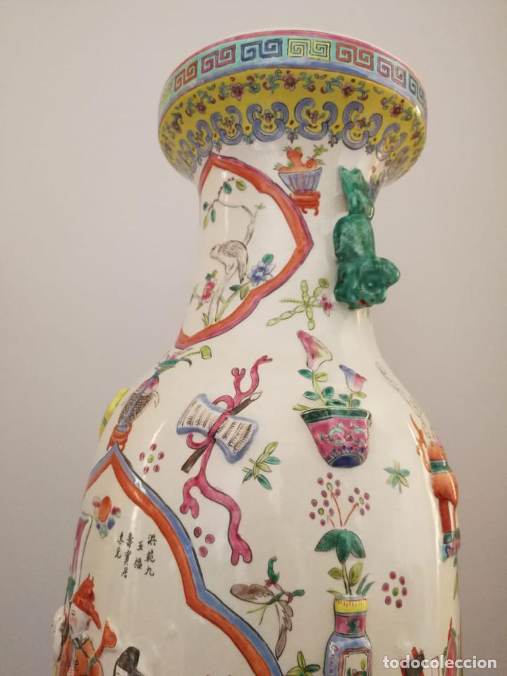 Antigüedades: GRAN JARRÓN CHINO CON RELIEVES - SELLADO - Foto 16 - 134220110