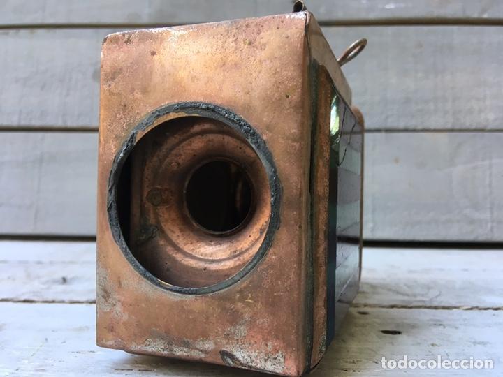 Antigüedades: FAROL ANTIGUO DE METAL CON VENTANAS DE CRISTAL BISELADO LINTERNA DE COCHE FARO DE CARRO - Foto 4 - 134239218