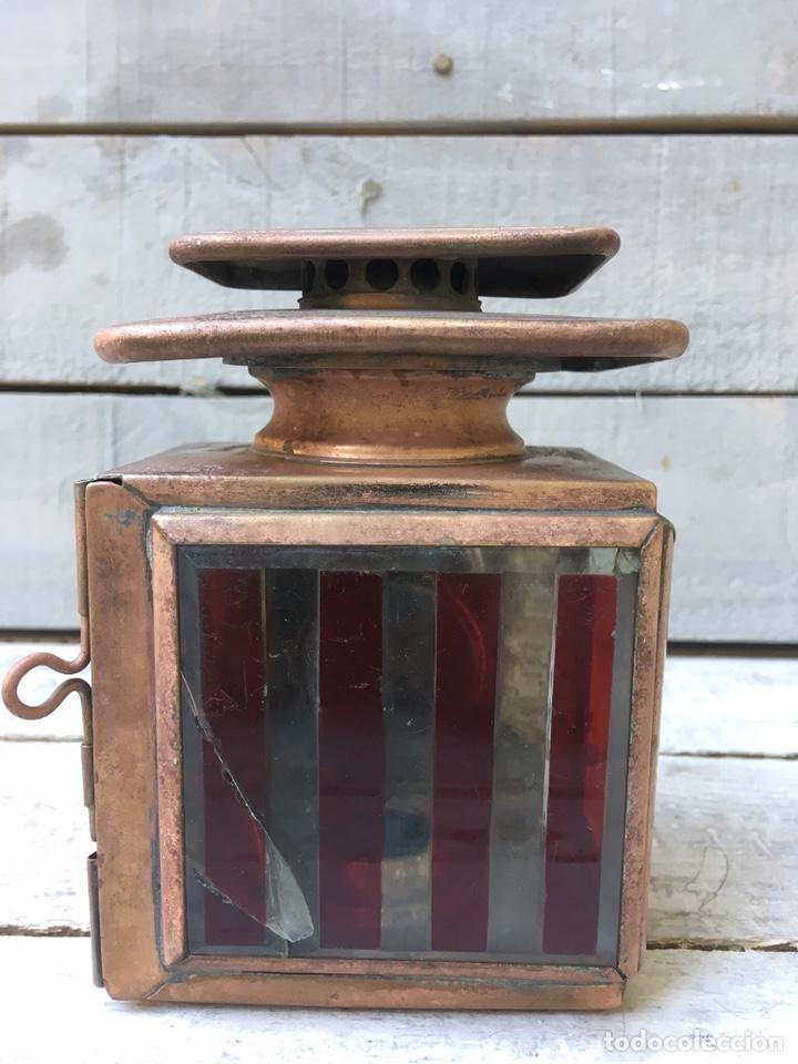 Antigüedades: FAROL ANTIGUO DE METAL CON VENTANAS DE CRISTAL BISELADO LINTERNA DE COCHE FARO DE CARRO - Foto 5 - 134239218