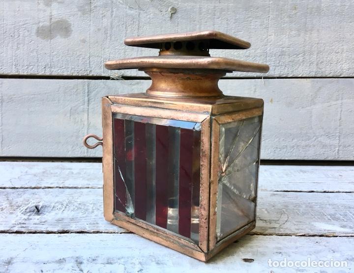FAROL ANTIGUO DE METAL CON VENTANAS DE CRISTAL BISELADO LINTERNA DE COCHE FARO DE CARRO (Antigüedades - Iluminación - Faroles Antiguos)