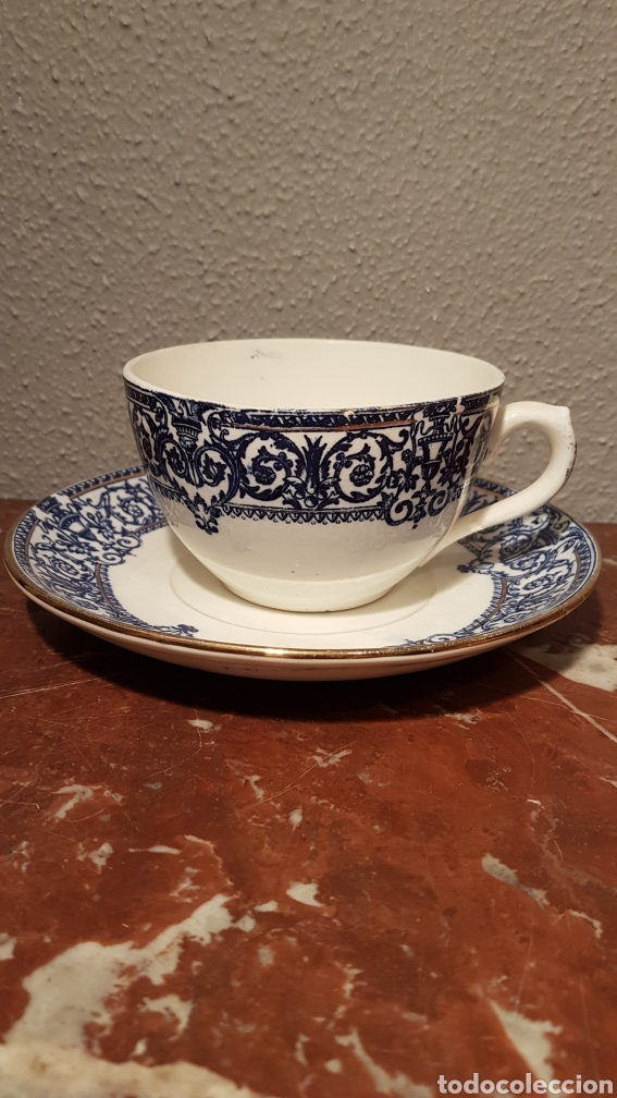 PLATO Y TAZA SOPERA PICKMAN FINALES SIGLO XIX (Antigüedades - Porcelanas y Cerámicas - La Cartuja Pickman)