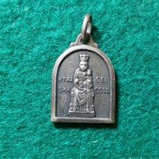 Antigüedades: MEDALLA ANTIGUA VIRGEN DEL COLL DE BARCELONA Y SAGRADO CORAZÓN DE JESÚS EN PLATA. Lote 134257698