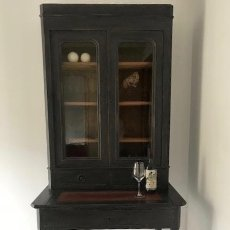 Antigüedades: MAHOGANY WRITING LIBRARY 19 TH C FRENCH PAINTED. Lote 134263274
