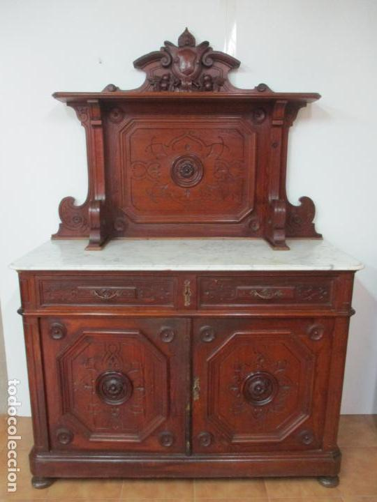 BONITO APARADOR ALFONSINO - MADERA DE PINO -SOBRE DE MÁRMOL, CON ESTANTE -IDEAL COMEDOR, RESTAURANTE (Antigüedades - Muebles Antiguos - Aparadores Antiguos)