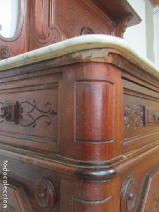 Antigüedades: Bonito Aparador Alfonsino - Madera de Pino -Sobre de Mármol, con Estante -Ideal Comedor, Restaurante - Foto 18 - 134268258