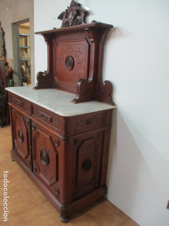 Antigüedades: Bonito Aparador Alfonsino - Madera de Pino -Sobre de Mármol, con Estante -Ideal Comedor, Restaurante - Foto 44 - 134268258