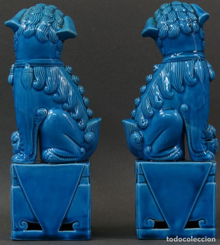 Antigüedades: Pareja Furias Foo cerámica vidriada azul China siglo XX - Foto 4 - 134302802