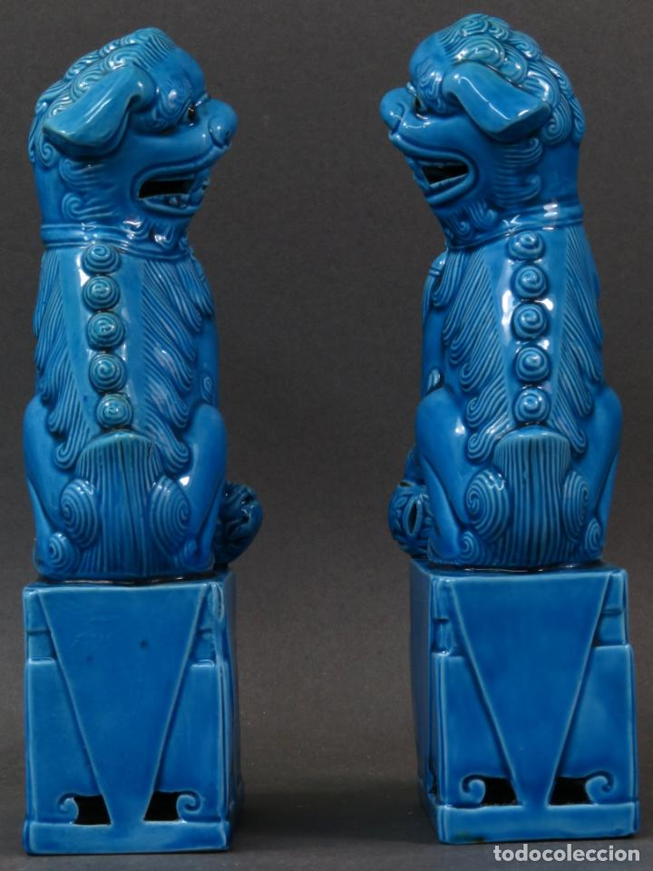 Antigüedades: Pareja Furias Foo cerámica vidriada azul China siglo XX - Foto 5 - 134302802