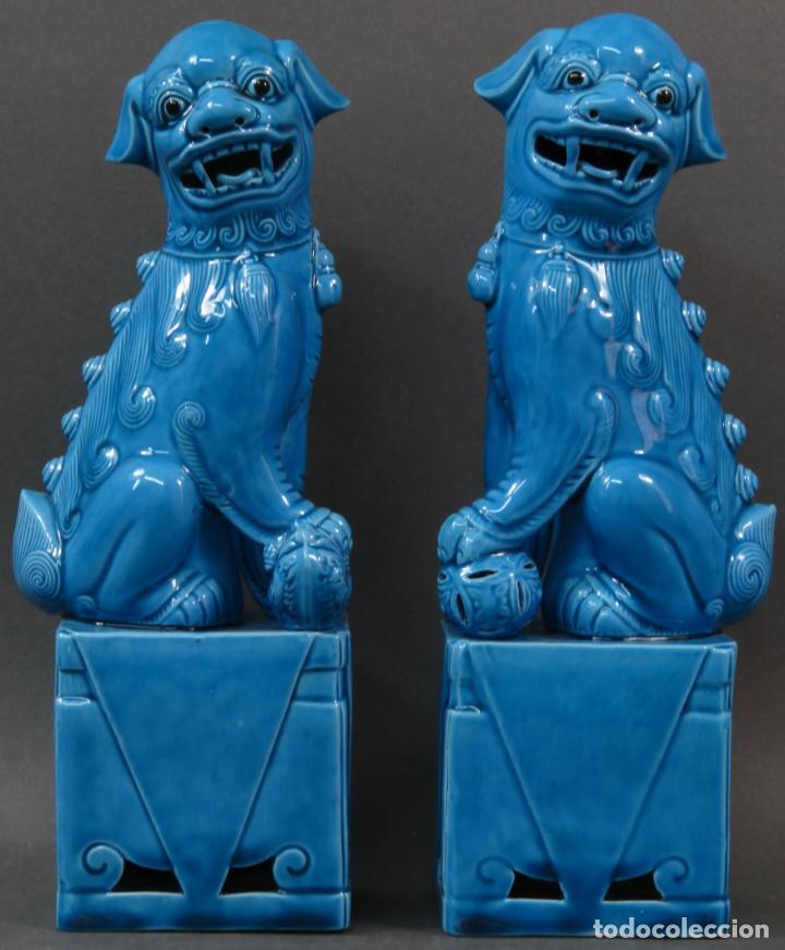 PAREJA FURIAS FOO CERÁMICA VIDRIADA AZUL CHINA SIGLO XX (Antigüedades - Porcelanas y Cerámicas - China)