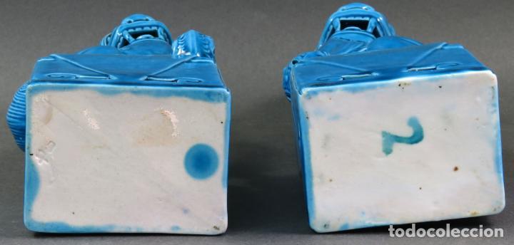 Antigüedades: Pareja Furias Foo cerámica vidriada azul China siglo XX - Foto 6 - 134303026