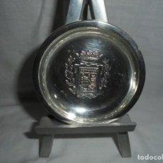 Antigüedades: BANDEJITA DE PLATA CON EL ESCUDO DE SANTANDER CUÑOS ESTRELLA Y 925. Lote 134331658