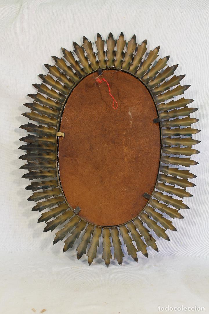 Antigüedades: espejo de sol ovalado en metal dorado - Foto 3 - 134357986