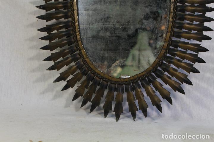 Antigüedades: espejo de sol ovalado en metal dorado - Foto 5 - 134357986