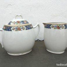 Antigüedades: AZUCARERO Y LECHERA EN PORCELANA DE LIMOGES SELLADOS. Lote 134407574
