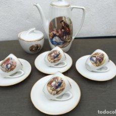 Antigüedades: JUEGO ANTIGUO DE CAFE PORCELANA . Lote 134429750