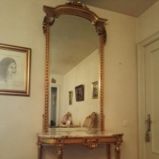 Antigüedades: CONSOLA + ESPEJO, ESTILO LUIS XVI. Lote 134433378