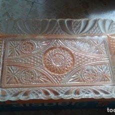Antigüedades: BANDEJA DE CRISTAL TALLADO. Lote 134435558