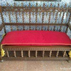 Antigüedades: ESPECTACULAR BANCO EN MADERA MACIZA DE NOGAL - FABRICADO EN LA PRESTIGIOSA CASA DE LOS CERTALES -. Lote 134457626