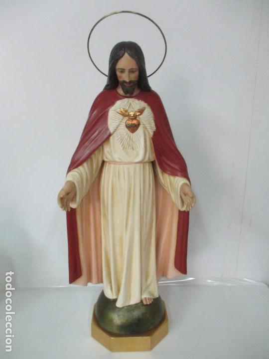 Antigüedades: Antiguo Sagrado Corazón - Talla de Madera Policromada - 72 cm Altura - S. XIX - Foto 2 - 134480498