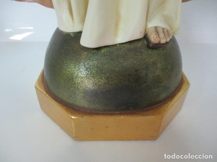 Antigüedades: Antiguo Sagrado Corazón - Talla de Madera Policromada - 72 cm Altura - S. XIX - Foto 3 - 134480498