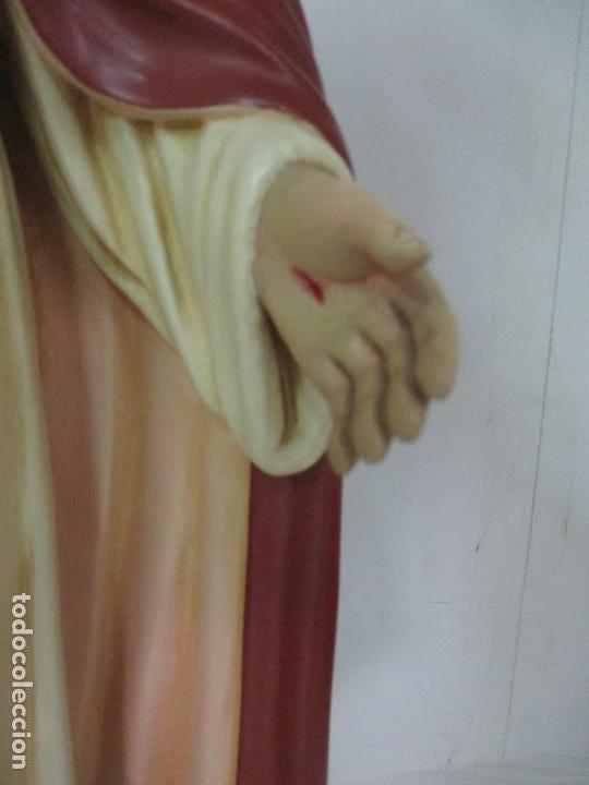 Antigüedades: Antiguo Sagrado Corazón - Talla de Madera Policromada - 72 cm Altura - S. XIX - Foto 6 - 134480498