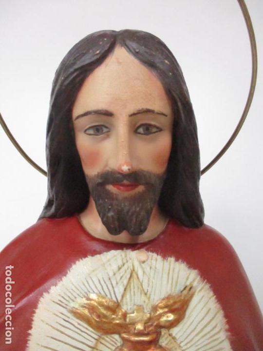 Antigüedades: Antiguo Sagrado Corazón - Talla de Madera Policromada - 72 cm Altura - S. XIX - Foto 8 - 134480498