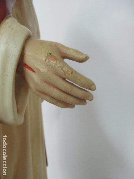 Antigüedades: Antiguo Sagrado Corazón - Talla de Madera Policromada - 72 cm Altura - S. XIX - Foto 17 - 134480498