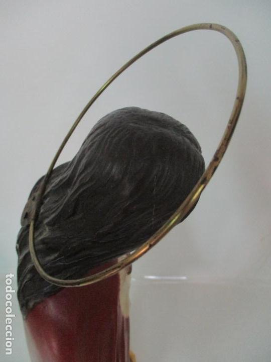 Antigüedades: Antiguo Sagrado Corazón - Talla de Madera Policromada - 72 cm Altura - S. XIX - Foto 20 - 134480498
