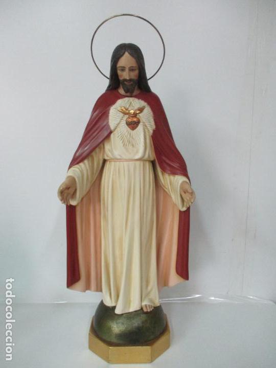 Antigüedades: Antiguo Sagrado Corazón - Talla de Madera Policromada - 72 cm Altura - S. XIX - Foto 21 - 134480498