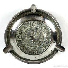 Antigüedades: CENICERO. METAL PLATEADO. MONEDA ALFONSO XIII. ESPAÑA. SIGLO XX.. Lote 134527602