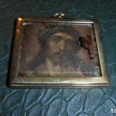 Antigüedades: ANTIGUO RELICARIO COBRE PINTADO Y GRABADO COLOREADO S. XVIII- 4,5X4,5 CM. . Lote 134564202