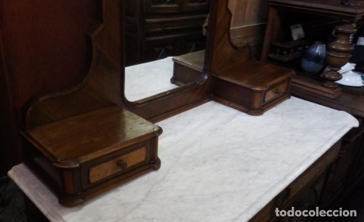 Antigüedades: TOCADOR CÓMODA DE NOGAL Y RAIZ DE LIMONCILLO. - Foto 7 - 134735974